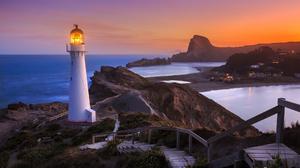 Lighthouse Rock Sea Sunset 1920x1280 Wallpaper
