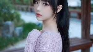 Sweater Black Hair Long Hair Outdoors Asian Women Shika XiaoLu 3024x4032 wallpaper