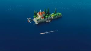 Boat Castle House Island Mansion Sea Studio Ghibli Water 1920x1040 Wallpaper