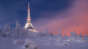 Czech Republic Winter Snow Building Trees Night Lights Sky Clouds Nature Landscape 2500x1680 Wallpaper