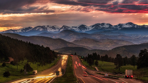 Nature Landscape Trees Mountains Highway Evening Sunset Snowy Peak Car Long Exposure Light Trails Fo 1920x1080 Wallpaper