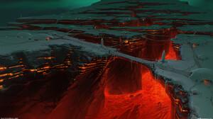 Artwork Fantasy Art Lava Bridge 1920x1080 Wallpaper