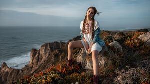 Ksenia Kokoreva Women Pigtails Sitting Dress Sea Shoes Women Outdoors Denim Yuriy Lyamin 2048x1280 Wallpaper