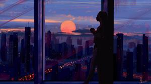 Digital Painting Women Cityscape Sunrise Coffee Alvaroserpa 1920x1080 Wallpaper