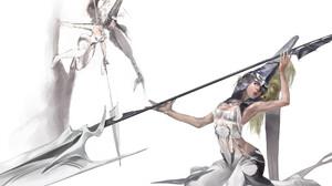 Jisoo Shin ArtStation Artwork Fantasy Art Fantasy Girl Simple Background Long Hair Spear 1920x1459 Wallpaper