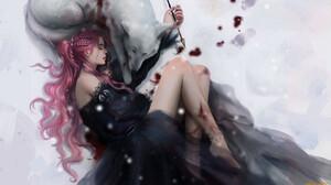 Artwork Fantasy Art Fantasy Girl Closed Eyes Pink Hair Women Long Hair Legs Wounds Animals Wolf Mamm 1920x1080 Wallpaper