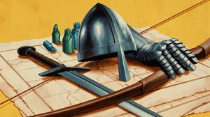 Illustration Artwork Fantasy Art Helmet Armor Sword Weapon Yellow Background Simple Background Bow 3840x2160 Wallpaper