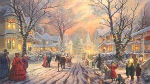 Artistic Christmas Christmas Lights Light Night Painting People Santa Street Victorian Village 1920x1200 Wallpaper