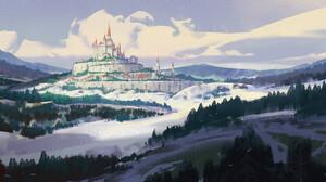 YH Wu Digital Art Fantasy Art Clouds Forest Trees Castle Western Architecture 1920x933 Wallpaper