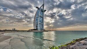 Dubai United Arab Emirates Building Beach Sea Rock 2880x1800 Wallpaper