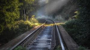 Outdoors Railway Plants Metal Sun Rays 2048x1367 wallpaper