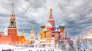 Moscow Russia Kremlin Red Square Cathedral Winter Snow People Sky Clouds City Cityscape Saint Basils 2000x1333 Wallpaper