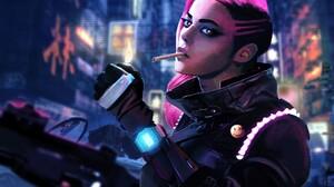 Women Cyberpunk Smoking Pink Hair Gun Side Shave Girls With Guns 1920x1407 Wallpaper