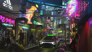 Car City Cyberpunk Korean Neon Sign People Sci Fi Seoul Shop Street 1920x1120 Wallpaper