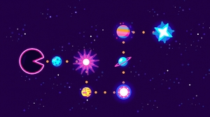 Digital Art Minimalist Pac Man Planet Space 3840x2160 wallpaper