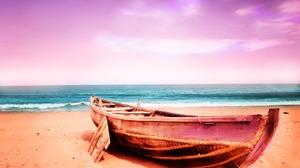 Boat Horizon Ocean Sand 1920x1280 Wallpaper