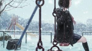Anime Anime Girls Black Hair Dark Hair Park Swings School Uniform Winter Snow Closed Eyes 1600x1131 Wallpaper