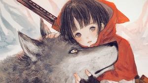 Wolf Dark Hair Short Hair Little Red Riding Hood Gloves Gun Red Jackets Black Eyes Looking At Viewer 2888x1870 Wallpaper