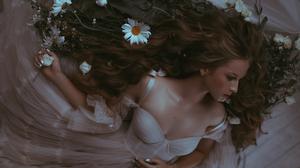 Valeriya Mytnik Women Brunette Long Hair Wavy Hair Brides Dress White Clothing Wedding Dress Flowers 2500x1666 wallpaper
