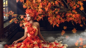 Artistic Fall Girl Leaf Model Orange Dress Woman 2048x1536 Wallpaper