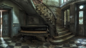 Indoors House Old Musical Instrument Piano Stairs 2048x1100 Wallpaper
