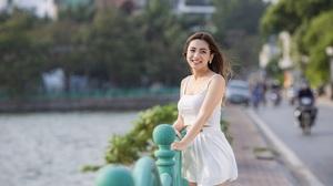 Asian Model Women Long Hair Dark Hair Depth Of Field White Dress Trees River 5760x3840 Wallpaper
