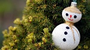 Christmas Ornaments Snowman 3840x2275 Wallpaper