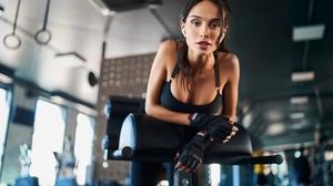 Women Model Gym Clothes Excercise Indoors Depth Of Field Long Hair Dark Hair Latinas Fingerless Glov 3000x2000 Wallpaper