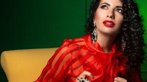 Black Hair Brown Eyes Earrings Girl Lipstick Model Woman 4209x3625 Wallpaper