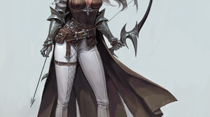Artwork Archer Fantasy Art Fantasy Girl Simple Background Bow Standing Looking Away Long Hair 1920x2299 Wallpaper