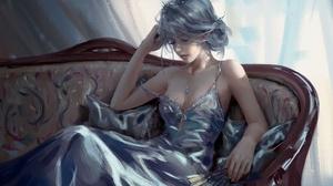 Dress Elf Fan Fantasy Necklace Pointed Ears Silver Dress Summer White Hair Woman 2884x1894 Wallpaper