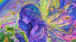 Artistic Colorful Colors Fairy Flower Girl Painting Rainbow Wings Woman 2045x1645 Wallpaper