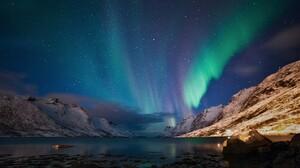 Aurora Borealis Earth Iceland Lake Mountain Night Snow Stars Winter 1920x1080 Wallpaper