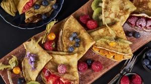 Food Sweets Berries Crepes Blueberries Strawberries Kiwi Fruit Raspberries Cutting Board Sugar 2048x1152 wallpaper