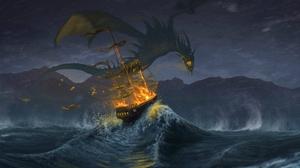Wave Ship Monster Beast 1920x1200 Wallpaper