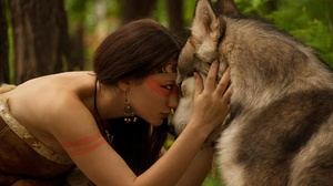 Brown Hair Cosplay Earrings Native American Necklace Wolf 1920x1080 Wallpaper
