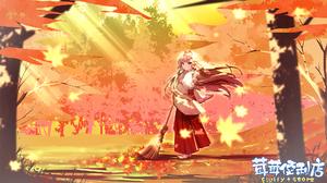 Anime Games Anime Girls Anime Long Hair Trees Sunlight Broom Red Eyes Brunette Fall Japanese Clothes 1920x1080 Wallpaper