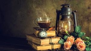 Book Lantern Pocket Watch Rose Still Life Tea 7360x4912 Wallpaper