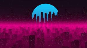 Cityscape Night Moon Stars 1920x1080 Wallpaper
