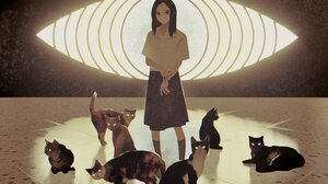 Anime Anime Girls Cats Dark Hair Shoulder Length Hair Eyes Looking At Viewer Blue Eyes 2534x2083 Wallpaper