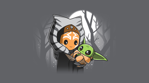 Star Wars Ahsoka Tano Artwork Grogu Baby Yoda The Mandalorian Gray Background Jedi Minimalism 5120x2880 wallpaper