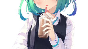 Anime Girls Hololive Virtual Youtuber Vertical Uruha Rushia Simple Background Keis Green Hair Short  4241x5849 Wallpaper