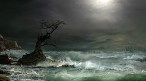 Artistic Boat Cloud Ocean Painting Sailboat Sea Storm Tree Twisted Tree 1920x1155 Wallpaper