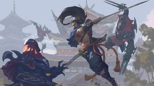 Sword Battle Samurai Warrior Yasuo League Of Legends 1920x1188 wallpaper