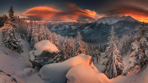 Winter Landscape Snow Trees Forest Mountains Sunset Sky Clouds Warm Light Photography Nature Outdoor 1920x1080 Wallpaper