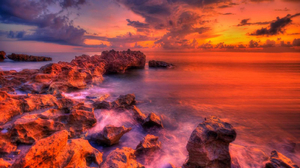 Colors Earth Horizon Ocean Rock Sunset Orange Color 1600x900 wallpaper