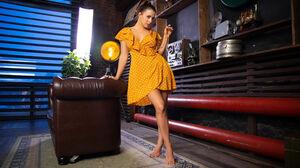 Long Hair Brunette Dress Orange Dress Women Women Indoors Indoors Legs Feet Barefoot Standing 5472x3648 Wallpaper