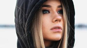 Women Model Annika Palmari Blonde Blue Eyes Hoods Jacket Depth Of Field Long Hair Looking Into The D 1365x2048 wallpaper