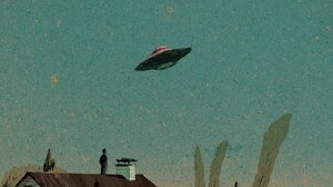 UFO Painting Artwork Sky House UFOs 1600x1163 Wallpaper