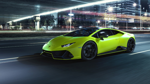 Lamborghini Huracan EVO RWD Lamborghini Super Car Italian Supercars Car Vehicle City City Lights Nig 3840x2160 wallpaper